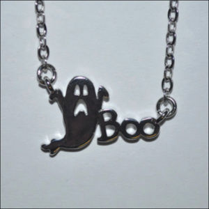 Jewelry - Silver Boo Ghost Necklace
